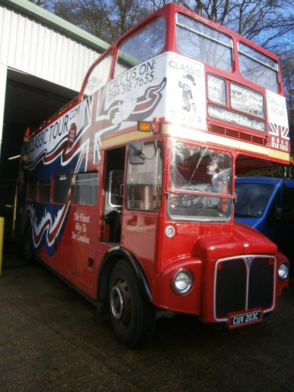 Double Decker Bus in for MOT Prep Work