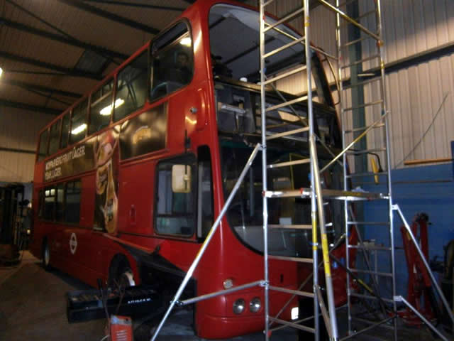 Volvo Double Deck bus in for extensive repairs